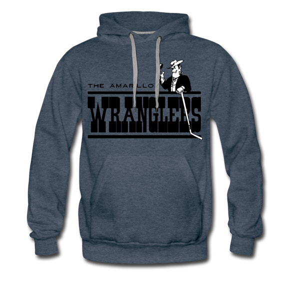 Amarillo Wranglers Black Logo Premium Hoodie - heather denim
