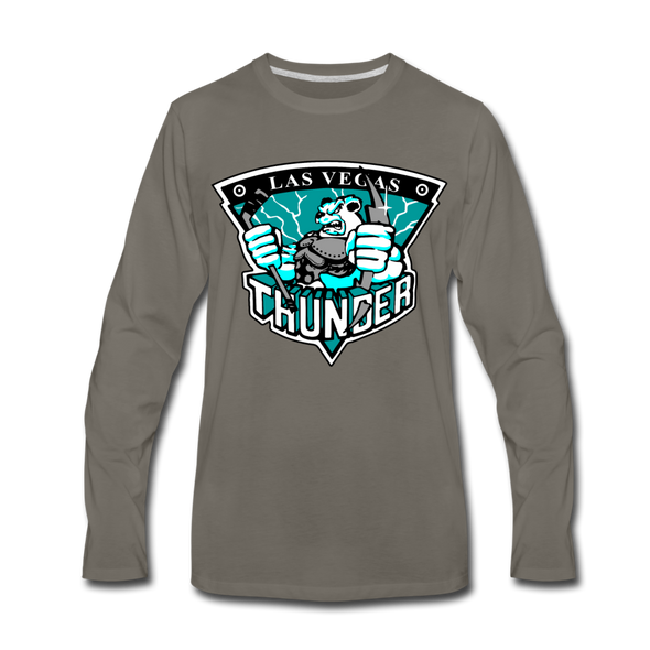 Las Vegas Thunder Boom Boom The Bear Long Sleeve T-Shirt (Premium) - asphalt gray
