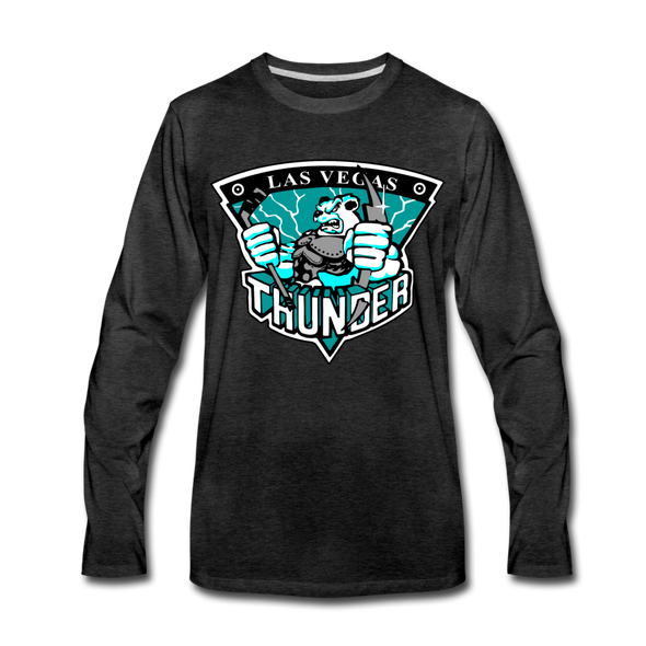 Las Vegas Thunder Boom Boom The Bear Long Sleeve T-Shirt (Premium) - charcoal gray