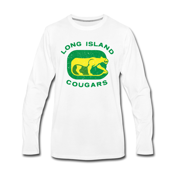Long Island Cougars Distressed Long Sleeve T-Shirt (Premium) - white