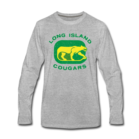 Long Island Cougars Distressed Long Sleeve T-Shirt (Premium) - heather gray