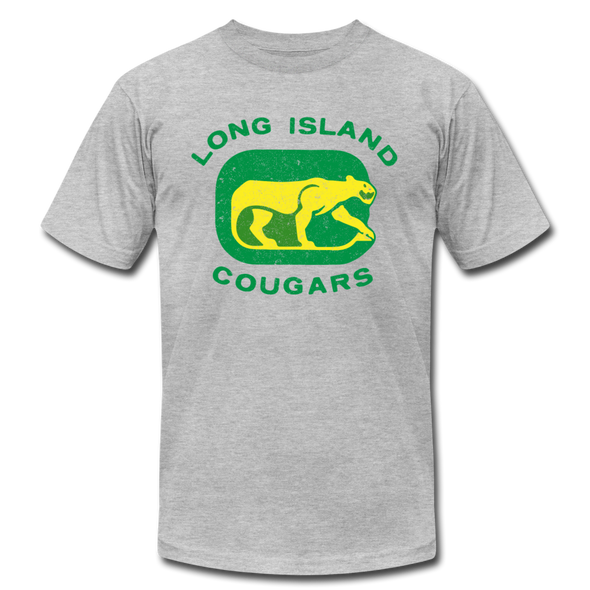 Long Island Cougars Distressed T-Shirt (Premium) - heather gray