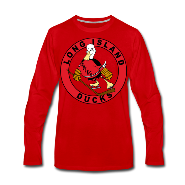 Long Island Ducks 1970s Long Sleeve T-Shirt (Premium) - red