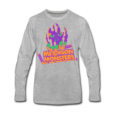 Madison Monsters Halloween Long Sleeve T-Shirt (Premium) - heather gray
