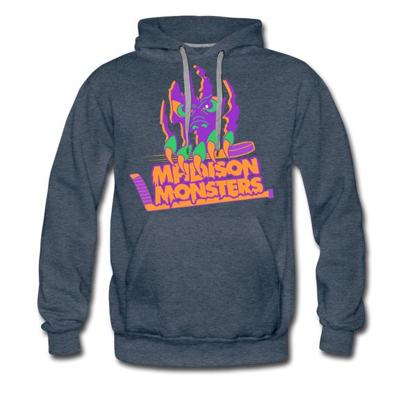 Madison Monsters Halloween Hoodie (Premium) - heather denim