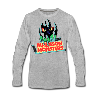 Madison Monsters Long Sleeve T-Shirt (Premium) - heather gray