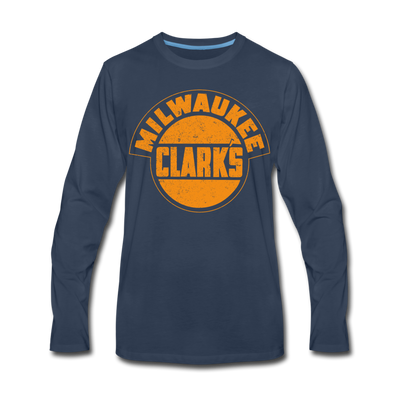 Milwaukee Clarks Distressed Long Sleeve T-Shirt (Premium) - navy