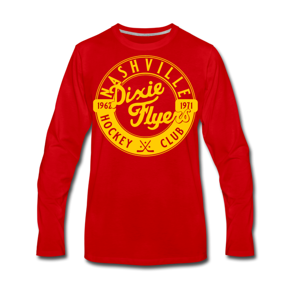 Nashville Dixie Flyers Circular Dated Long Sleeve T-Shirt (Premium) - red