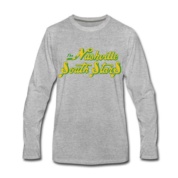 Nashville South Stars Text Long Sleeve T-Shirt - heather gray