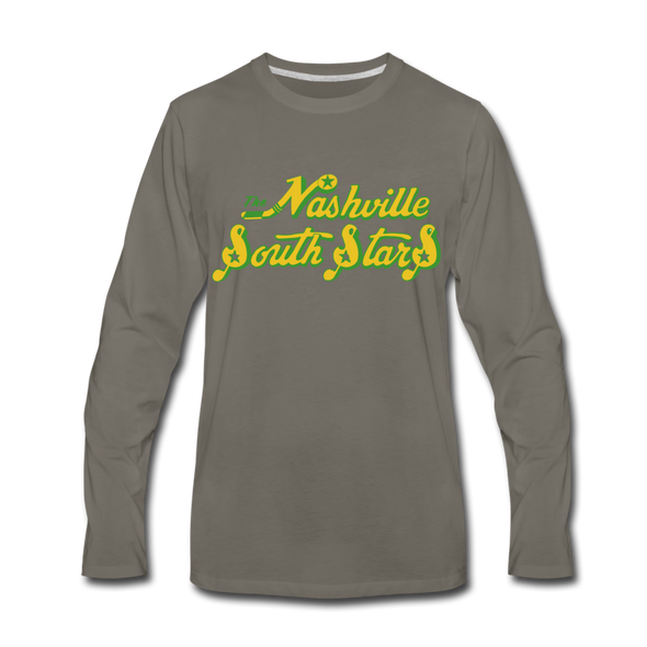Nashville South Stars Text Long Sleeve T-Shirt - asphalt gray