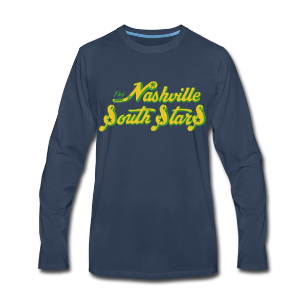 Nashville South Stars Text Long Sleeve T-Shirt - navy