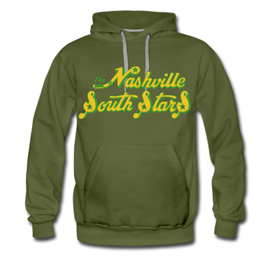 Nashville South Stars Text Hoodie (Premium) - olive green
