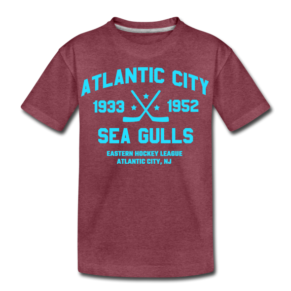 Atlantic City Sea Gulls Dated Kids' T-Shirt - heather burgundy