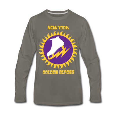 New York Golden Blades Long Sleeve T-Shirt (Premium) - asphalt gray