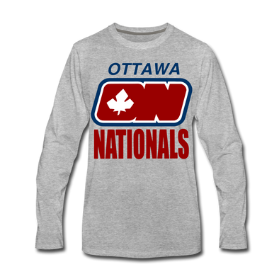 Ottawa Nationals Text Long Sleeve T-Shirt (Premium) - heather gray