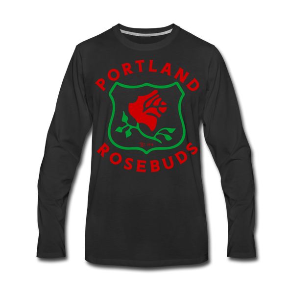 Portland Rosebuds Long Sleeve T-Shirt (Premium) - black