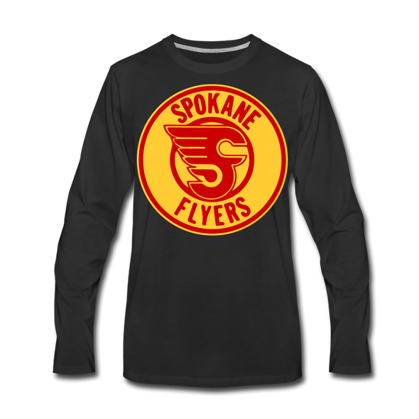 Spokane Flyers Red Design Long Sleeve T-Shirt (Premium) - black