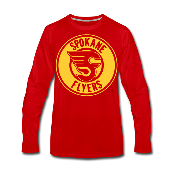 Spokane Flyers Red Design Long Sleeve T-Shirt (Premium) - red