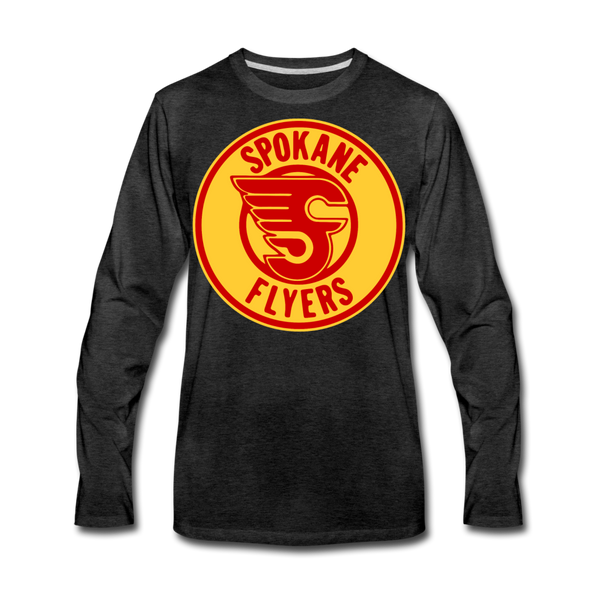 Spokane Flyers Red Design Long Sleeve T-Shirt (Premium) - charcoal gray