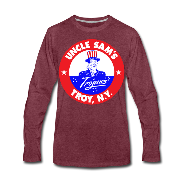 Troy Uncle Sam's Trojans Long Sleeve T-Shirt - heather burgundy