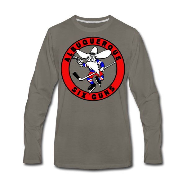 Albuquerque Six Guns Long Sleeve T-Shirt (Premium) - asphalt gray