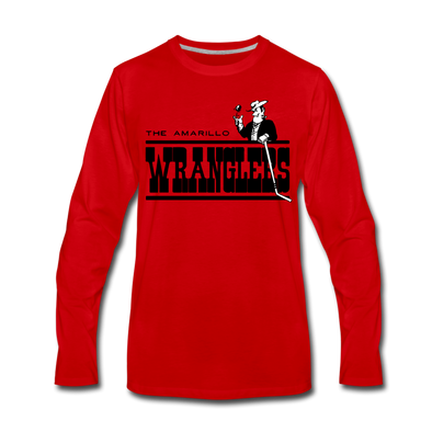 Amarillo Wranglers Black Design Long Sleeve T-Shirt (Premium) - red