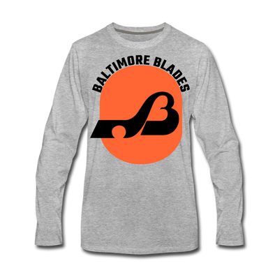 Baltimore Blades Text Long Sleeve T-Shirt (Premium) - heather gray
