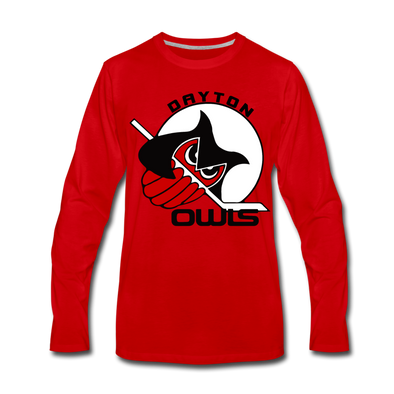 Dayton Owls Long Sleeve T-Shirt (Premium) - red