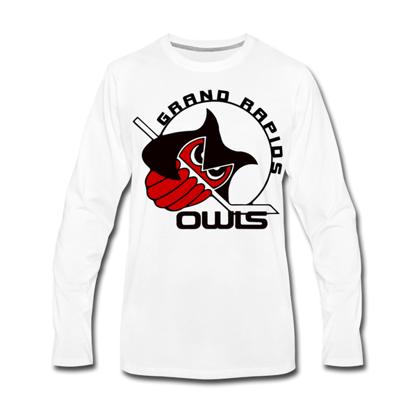 Grand Rapids Owls Long Sleeve T-Shirt (Premium) - white