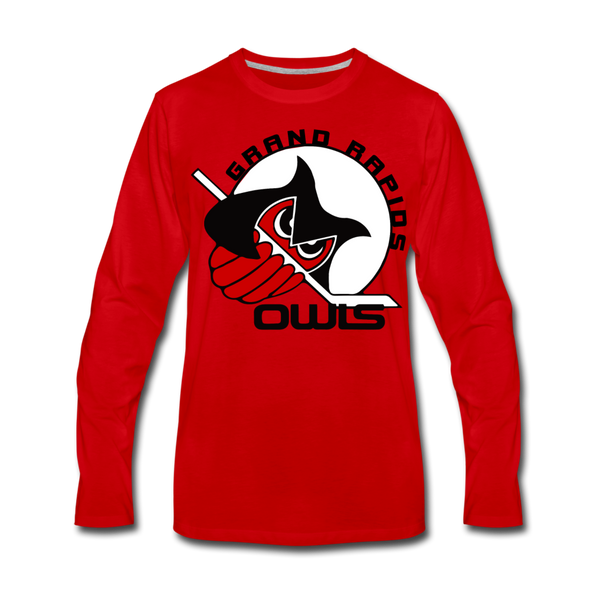 Grand Rapids Owls Long Sleeve T-Shirt (Premium) - red