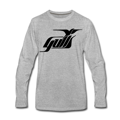 Hampton Gulls Black Design Long Sleeve T-Shirt (Premium) - heather gray