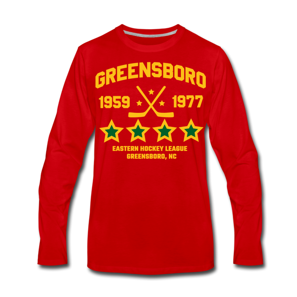 Greensboro Hockey Club Long Sleeve T-Shirt (Premium) - red