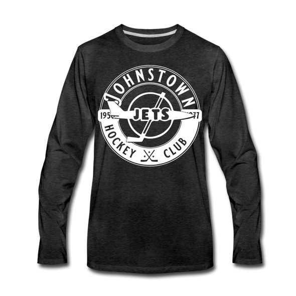 Johnstown Jets Circular Dated Long Sleeve T-Shirt (Premium) - charcoal gray