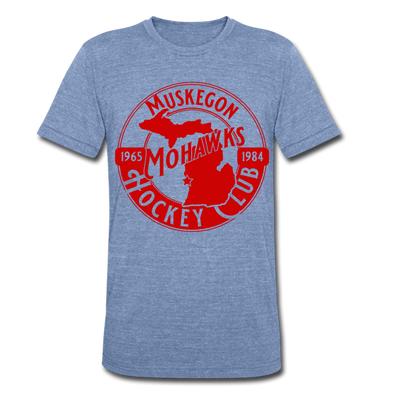 Muskegon Mohawks T-Shirt (Tri-Blend Super Light) - heather Blue