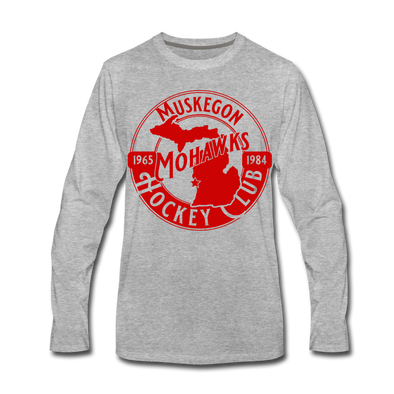 Muskegon Mohawks Long Sleeve T-Shirt - heather gray
