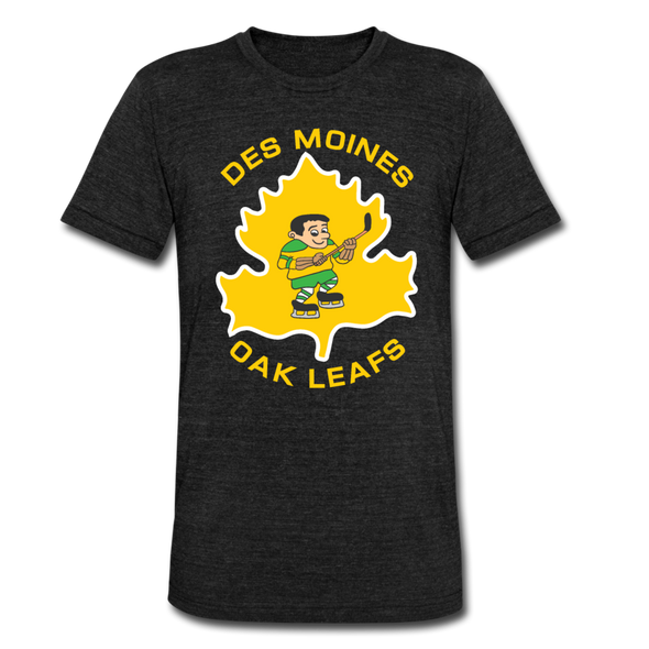 Des Moines Oak Leafs T-Shirt (Tri-Blend Super Light) - heather black