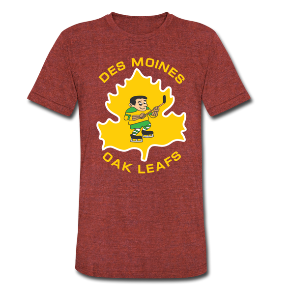 Des Moines Oak Leafs T-Shirt (Tri-Blend Super Light) - heather cranberry