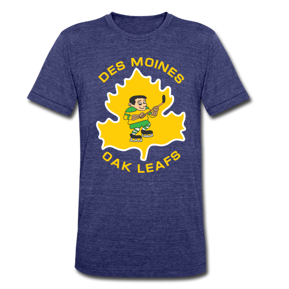 Des Moines Oak Leafs T-Shirt (Tri-Blend Super Light) - heather indigo