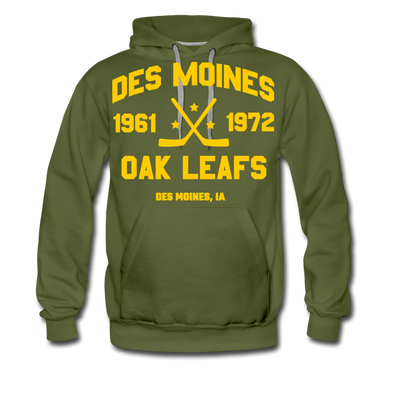 Des Moines Oak Leafs Double Sided Hoodie (Premium) - olive green