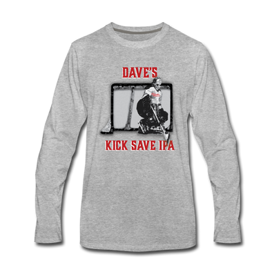 Dave's Kick Save IPA Long Sleeve T-Shirt - heather gray