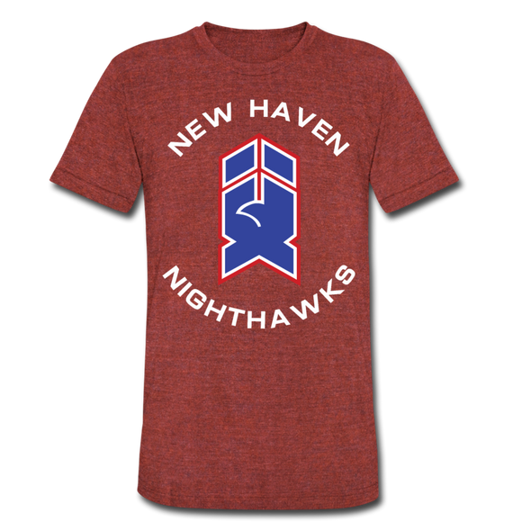 New Haven Nighthawks 1980s T-Shirt (Tri-Blend Super Light) - heather cranberry
