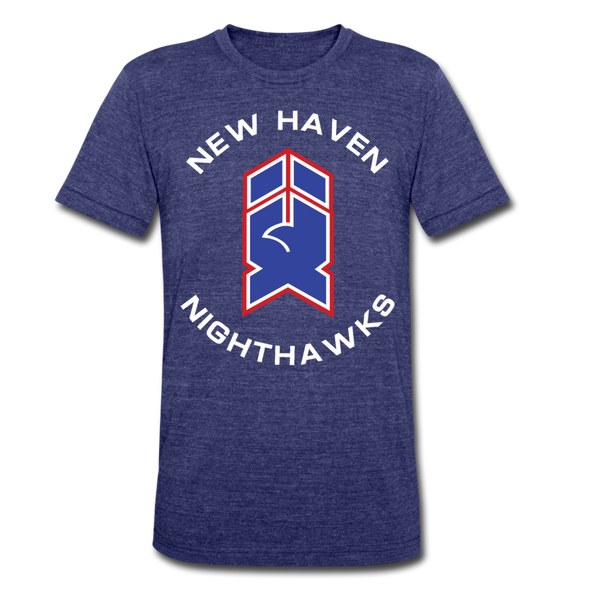 New Haven Nighthawks 1980s T-Shirt (Tri-Blend Super Light) - heather indigo