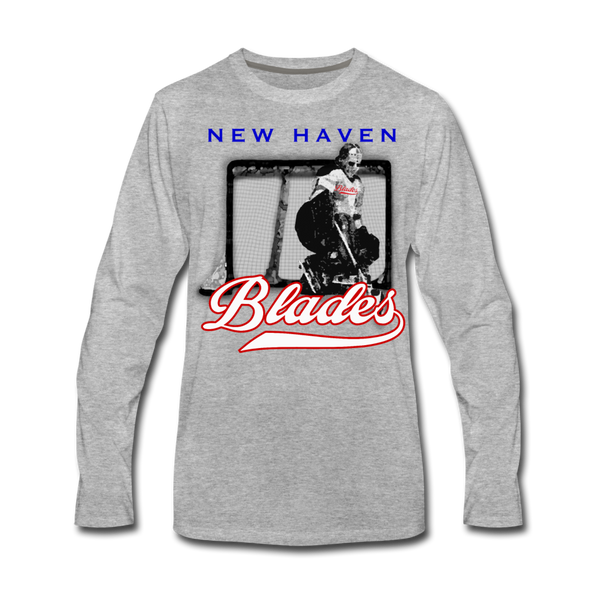 New Haven Blades Goalie Long Sleeve T-Shirt - heather gray