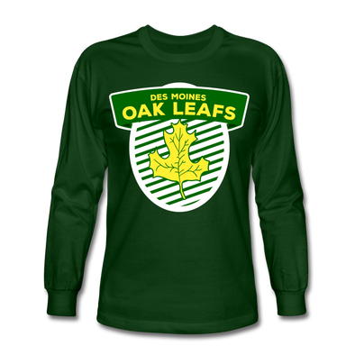 Des Moines Oak Leafs Shield Long Sleeve T-Shirt - forest green