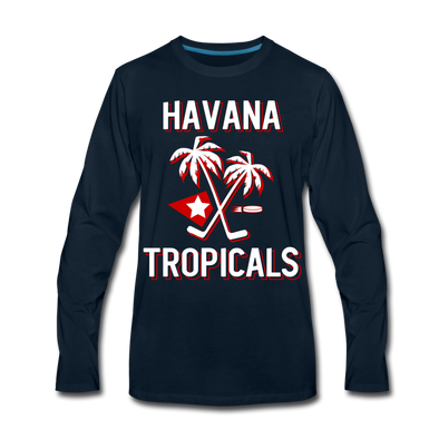 Havana Tropicals Palm Long Sleeve T-Shirt - deep navy