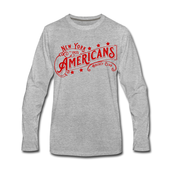 New York Americans Long Sleeve T-Shirt - heather gray