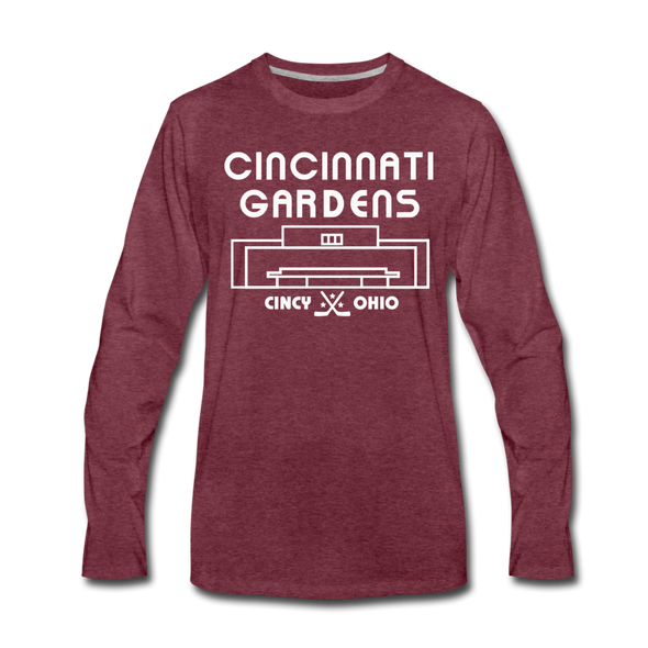 Cincinnati Gardens Long Sleeve T-Shirt - heather burgundy