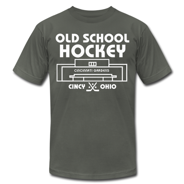 Cincinnati Gardens Old School Hockey T-Shirt (Premium Lightweight) - asphalt