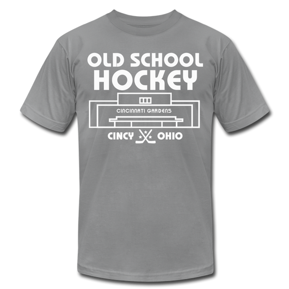 Cincinnati Gardens Old School Hockey T-Shirt (Premium Lightweight) - slate
