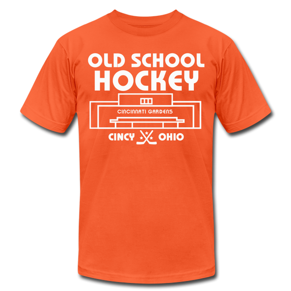 Cincinnati Gardens Old School Hockey T-Shirt (Premium Lightweight) - orange